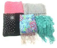Lot Of 5 Oblong Scarves Head Wraps Rayon Silk Blend Floral Multicolor Tassels