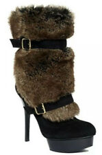 Guess Marciano Chandra Suede Faux Fur Platform Boots Heels SZ 6M