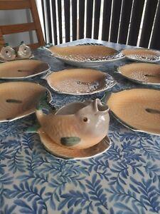 Shorter& Son Fish Bundle Plates Dish Gravy Boat With Plate Salt Pepper Shakers