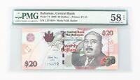 2006 Bahamas 20 Dollar Choice AU-58 EPQ Central Bank $20 About Uncirculated P#74