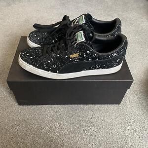 Puma SUEDE CLASSIC BLACK WHITE SPLATTER UK 9 Trainers Sneakers