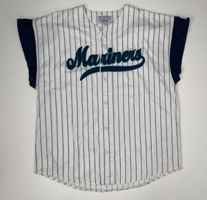 Vintage Seattle Mariners Starter Jersey Size XL Sleeveless Pinstripe MLB 90s