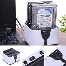 "USB 3.0 2.5"" 3.5"" Dual SATA HDD Drive Dock Station Enclosure External Disk Case"