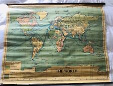 Vintage School Map of The World 1955, Very Large, Very Rare, Philips'