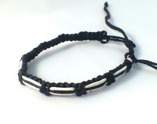 Black and White Waxed Cotton Bracelet Anklet Wristband Womens Mens Surf Beach