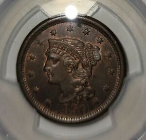 1850 1 Cent Coin PCGS MS 62 BN