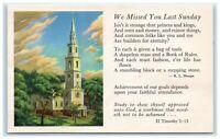 POSTCARD We Missed You Last Sunday Church Chapel R L Sharpe II Timothy 2:15