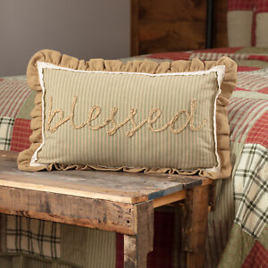 """VHC Brands Farmhouse 14""""x22"""" Blessed Pillow Green Appliqued Rope Bedroom Decor"""