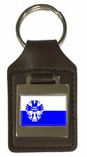 Leather Keyring  Engraved Arnhem City Netherlands Flag