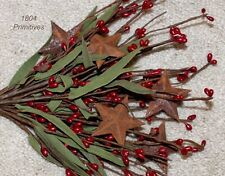 """12"""" Antique Red Pip Berry Stems / Picks with Rusty Tin Stars"""