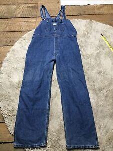 Vintage Lee Denim Riveted Dungarees Bib Overalls Men's XL Carpenter USA Jeans