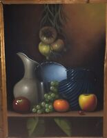 """Finest 32"""" High Midcentury 1950's Mexican Still Life Oil Painting Signed"""