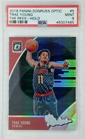 2018 Panini Donruss Optic The Rookies Holo Prizm Trae Young RC #5, Graded PSA 9