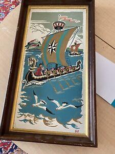 Vintage Viking Paint By Number Framed