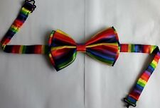 Rainbow Bow Tie Gay Pride Adjustable Multi Colour Clown Fancy Dress Satin