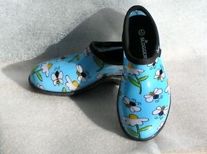 SLOGGERS Waterproof GARDEN Shoes BUMBLE BEES & DAISIES SIZE 9 Made in USA New