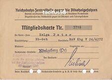 Mitgliedskarte Reichsbahn gegen Alkoholgefahren Königsberg Ostpreußen Dokument