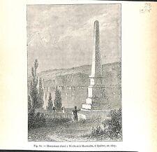 Monument de Wolfe & Montcalm à Québec Château Frontenac Canada 1827 GRAVURE 1888