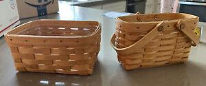 Lot Of 2 Longaberger Baskets Inc 1999 ADDRESS BASKET Both With Plastic Protector