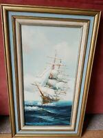 ORIGINAL HEWITT JACKSON Oil Painting on Canvas SIGNED Clipper SAILBOAT RARE FLAG