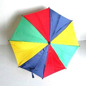 "Old Rainbow Colors Umbrella Parasol Plastic 22"" long folded FREE SH"