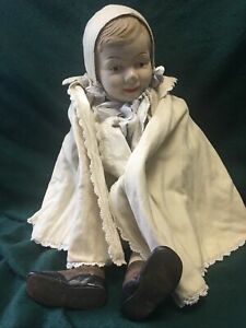 """30"""" Antique Composition Doll Baby Boy Child doll Leather Shoes Straw Filled"""