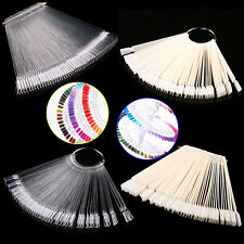 50 Clear Fals Nail Art Tips Colour Pop Sticks Display Fan Practice Starter IXV