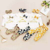 3PC Infant Baby Girls Letter Print Romper Bodysuit+Floral Pants+Headband Outfits