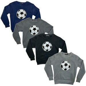 Boys Kids Sequin Jumper Warm Pullover Football Sweatshirt Top Fleece Sweater