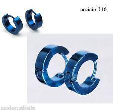 blu orecchini 4mm UOMO DONNA UNISEX cerchio ACCIAIO INOX TITANIO