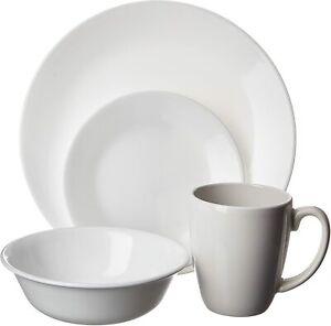 Corelle Classic 16 Piece Dinnerware Set Winter Frost White Plates Bowls Mugs