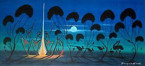 Tommy Crow ,Authentic Aboriginal Art, Size; 100cm x 45cm   'Moonlight dreaming'.