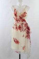 Lillie Ruben Ivory & Red Floral Print Spaghetti Strap Empire Waist Dress Size 8