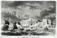 MESSINA: Terremoto del 1783, seguito da Incendio. Sicilia. Stampa Antica. 1880