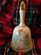 Christmas Bell Vintage Old Sweet Angel Girl 1977 Eve Rockwell Gold Collection