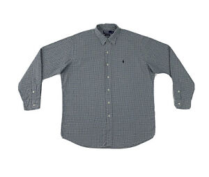 Polo Ralph Lauren Blue Check Button Shirt Men's Large Long Sleeve Button Down