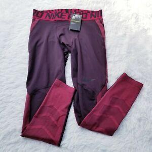 Nike Men's Pro Hyperwarm Training Tights 838016 Large L Burgundy Multi