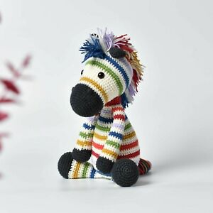 Rainbow Zebra, Muticolor Zebra Crochet Handmade, Stuffed Zebra , Zebra Soft Toy