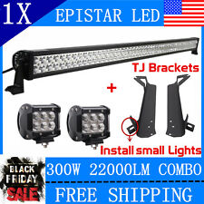 52inch 300W Combo LED Light Bar+Mount Brackets For Jeep Wrangler TJ+2X 18W Lamp