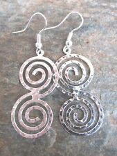 Silver Overlay Hammered Crazy 8 Dangle Earrings Made in Mexico Fair Trade ALER05