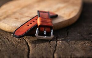 Handmade dark tan brown leather strap for Panerai with GPF buckle 27,26, 24,22mm