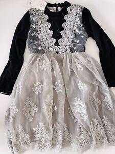Girls Children Princess Black Grey Warm Fleece Tutu Embroidery Lace Dress
