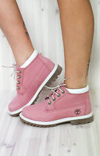 Timberland Nellie Waterproof Pink Nubuck Wide Calf Boot Double Sole Chukka * 7.5