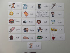 Letter 'U' CVC Picture and Word Laminated Flashcards.  Preschool-1st Grade ELA V