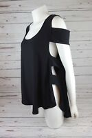 NEW X by Gottex Women's Cold Shoulder Top with Side Cutouts Black MSRP $70