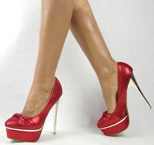 Damenschuhe 39 Rot Pumps Plateau High Heels Abendschuhe Partyschuhe Schuhe
