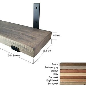 Wood Shelf With Industrial Style Brackets. Rustic Style. Various Sizes.