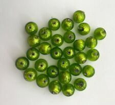 Thirty 8mm Lime Green Murano Glass Beads with .925 silver lining