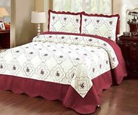 3Pc Bedspread Quilted High Quality Bed Cover Embroidery