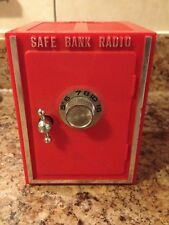 VINTAGE COMBINATION SAFE COIN BANK RADIO WORKS PLAYS BATTERY OPERATED